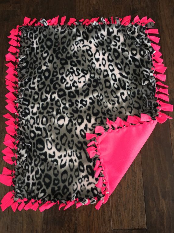 Baby Tie Blanket-Cheetah Black/White Print with Hot Pink ...