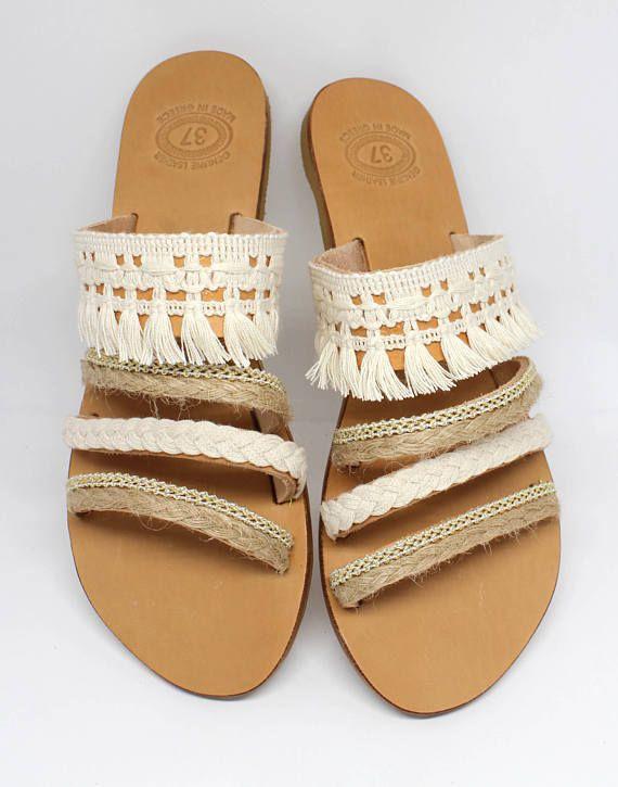 Sandales plates Boho. Sandales grecques. Sandales en cuir.