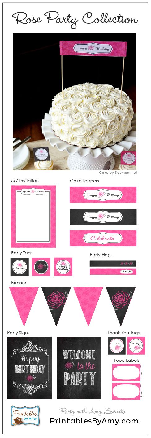 Rose Cake and Birthday Party Printables