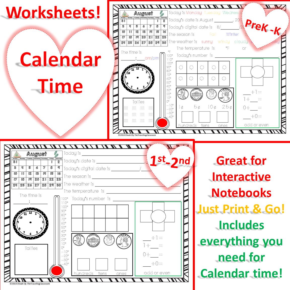 Morning Work Calendar Time Worksheets