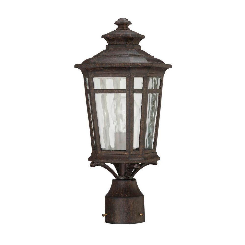Home Decorators Collection Waterton 1 Light Outdoor Dark Ridge Bronze Post Mount Lantern 23126 Post Mount Lantern Outdoor Lighting Outdoor Post Lights