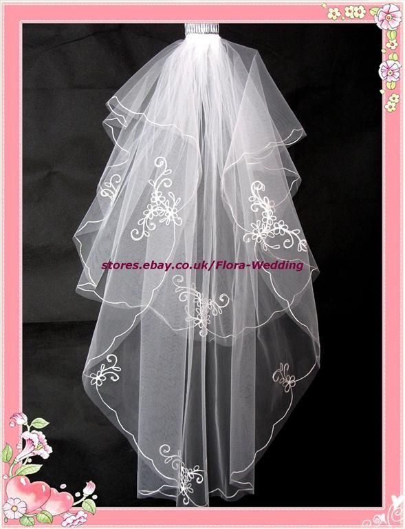 2 Tier Bridal Wedding Veil Diamante Fingertip Lgth 14