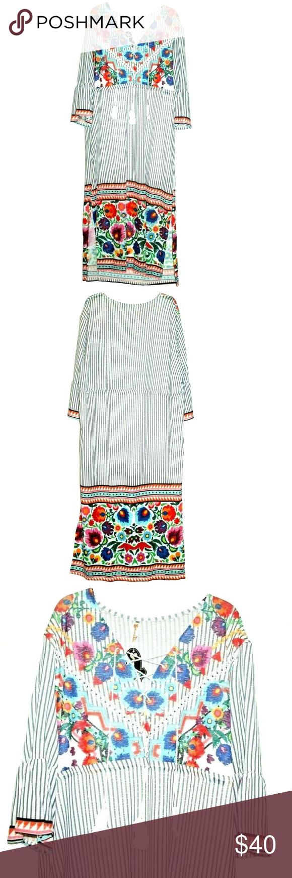 Shoreline Floral Maxi Dress 4x Shoreline Women S Maxi Dress V Neck Three Quarter Sleeves Long Stripes Floral 4 Floral Maxi Dress Maxi Dress Womens Maxi Dresses [ 1740 x 580 Pixel ]