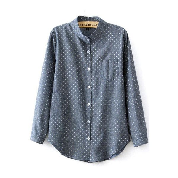 SheIn(sheinside) Blue Stand Collar Polka Dot Pocket Blouse ($16) ❤ liked on Polyvore featuring tops, blouses, sheinside, shirts, blue, embellished tops, slimming tops, high neck top, collar blouse and blue long sleeve blouse