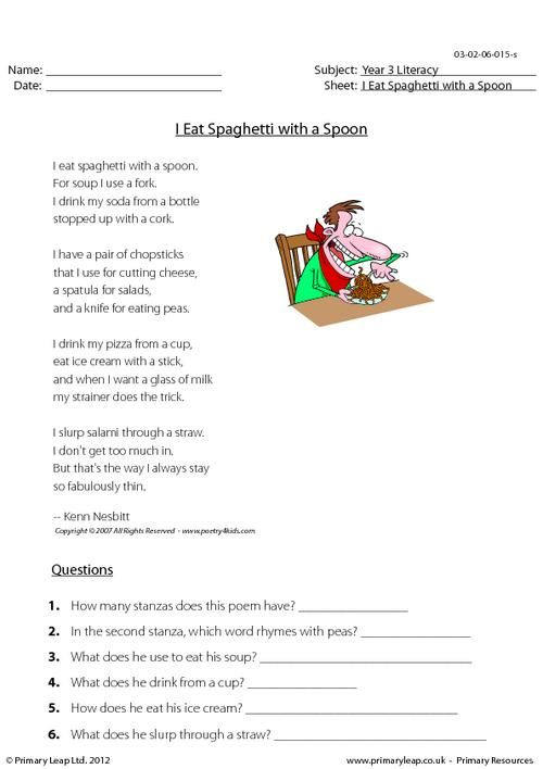 poetry i eat spaghetti with a spoon worksheet english printable. Black Bedroom Furniture Sets. Home Design Ideas