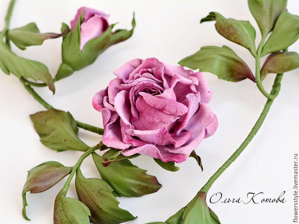 Купить Цветы из кожи Чайные розы комплект украшений колье и браслет - колье из кожи, зеленый