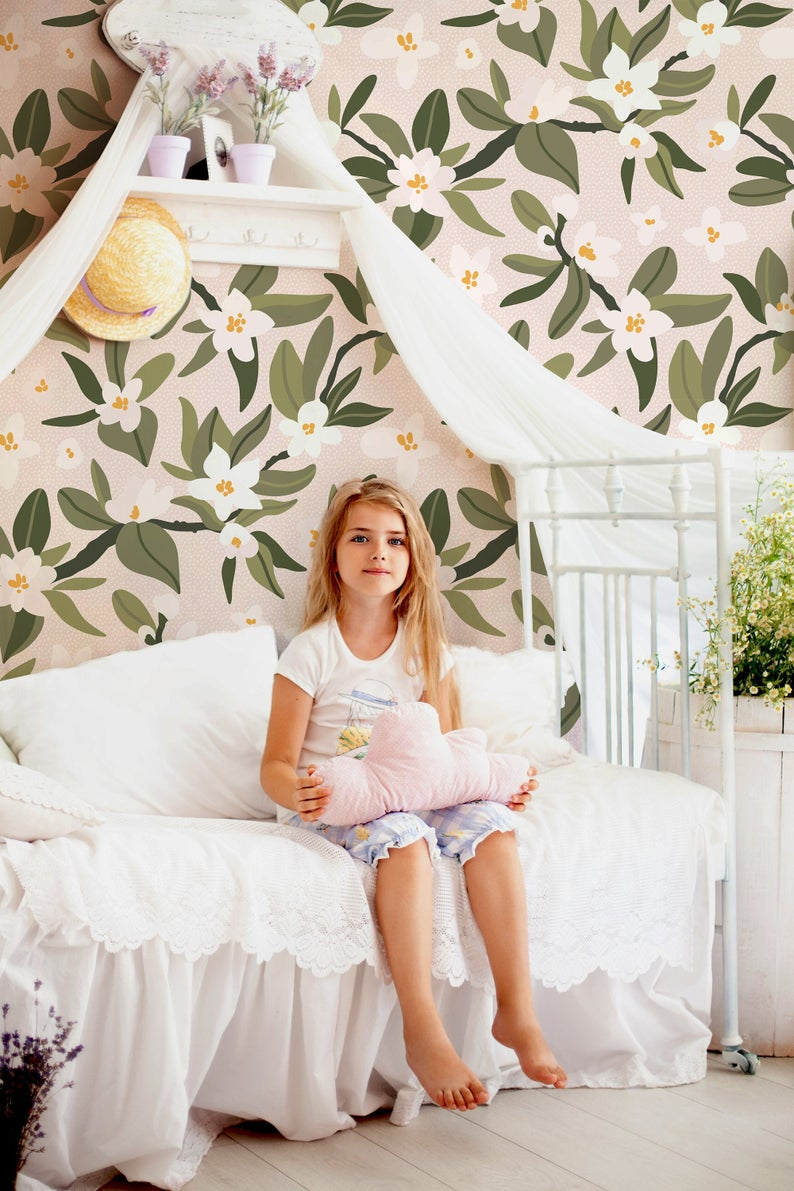 Eden Floral Traditional Or Removable Wallpaper Vinyl Free Non Toxic Removable Wallpaper Dogwood Blossoms Mural