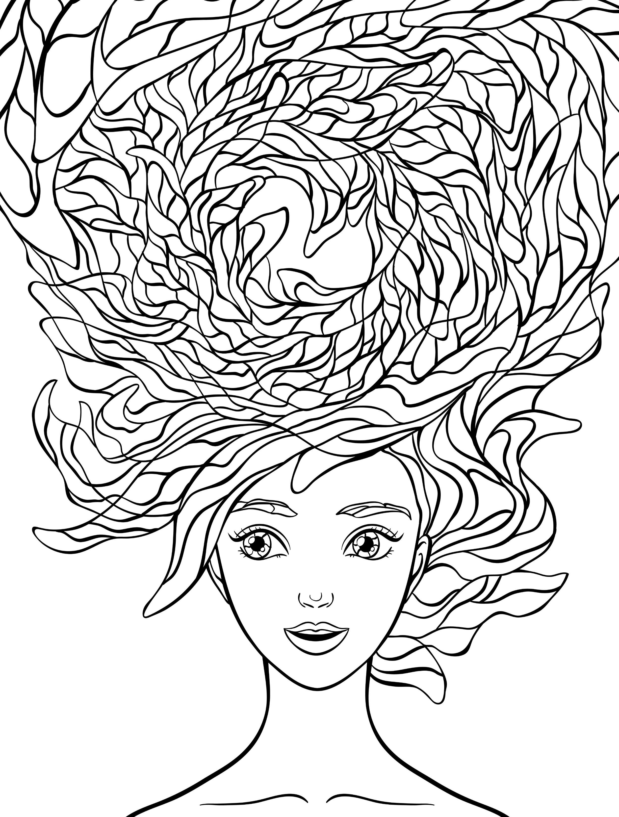 beautiful hair coloring pages for adults free download | people ...