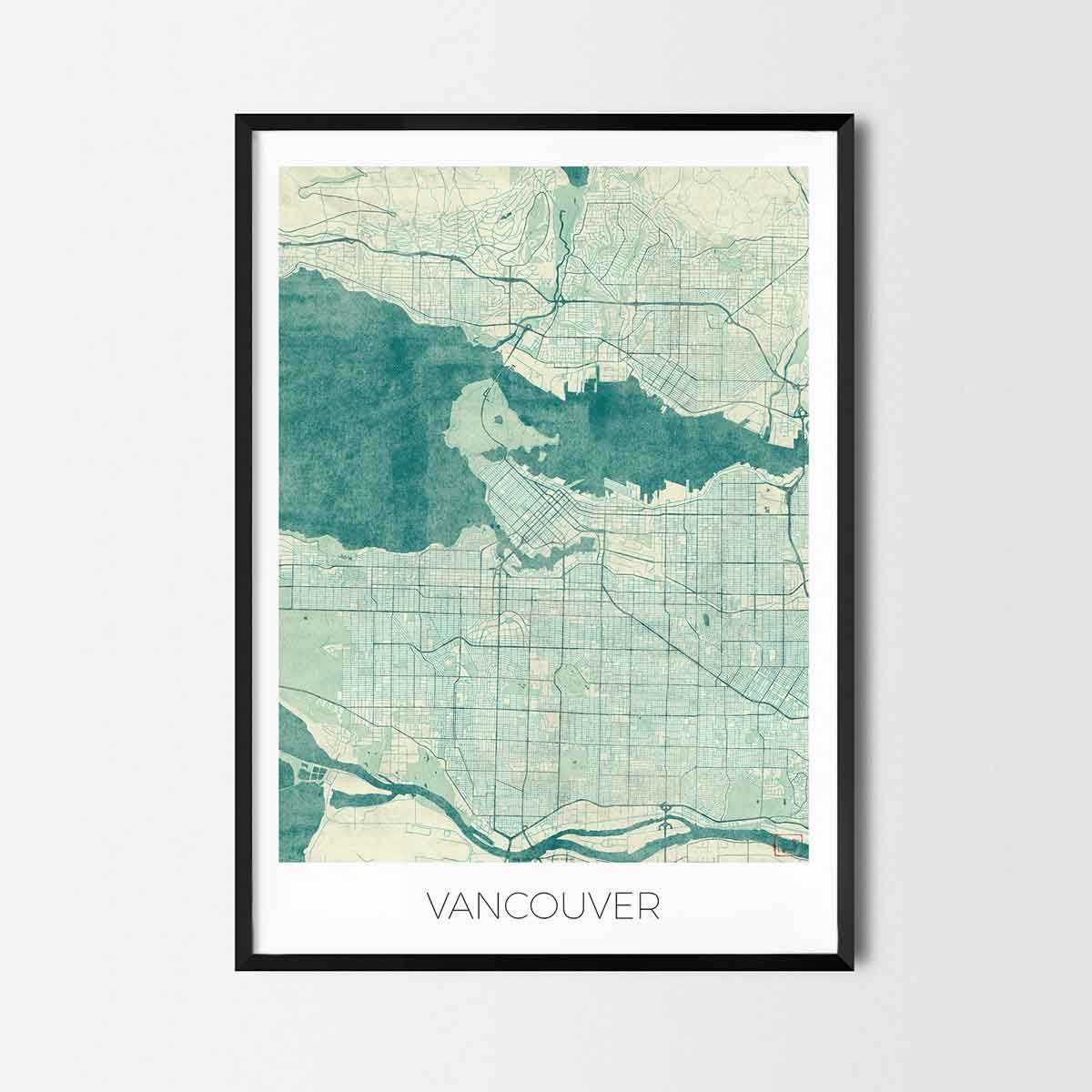 Vancouver art posters city art map posters and prints art posters vancouver art posters and prints of your favorite city unique design of vancouver map gumiabroncs Choice Image