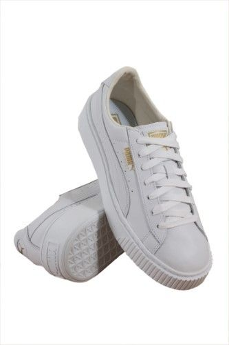 e8363b5a68 Puma 364040-04 Women Basket Platform Core White Gold
