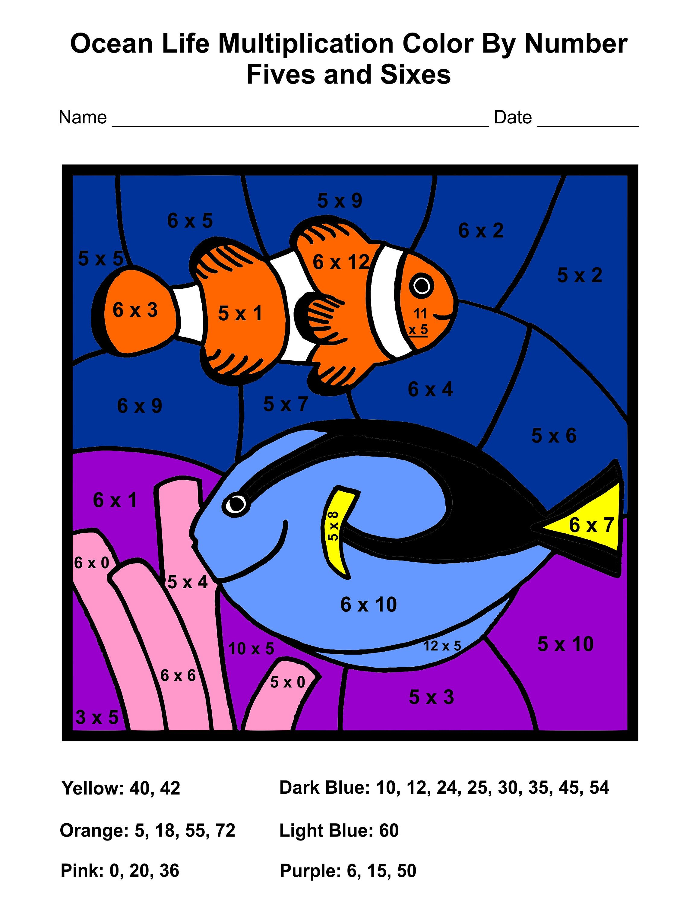 Ocean Life Multiplication Color By Number Worksheets By