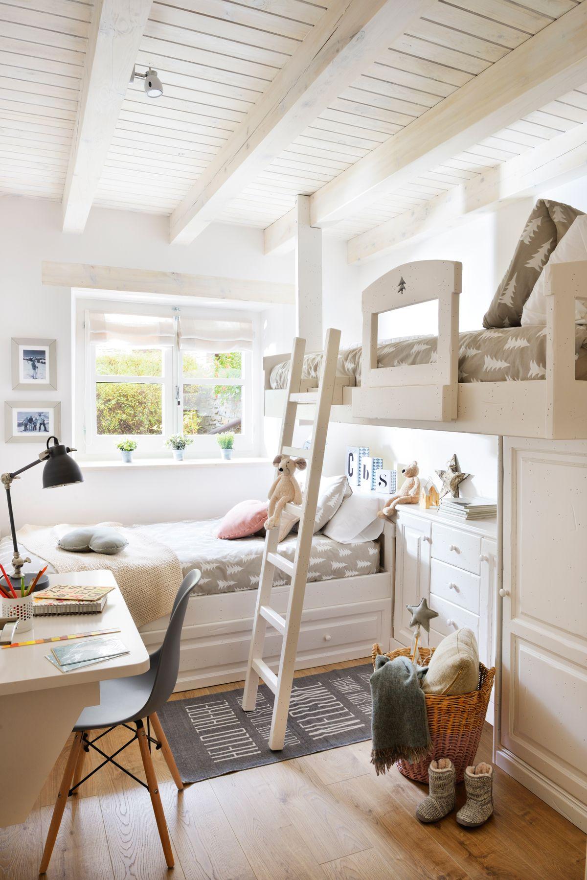 Habitaci n infantil con literas en l blancas armario bajo for Armario habitacion nina