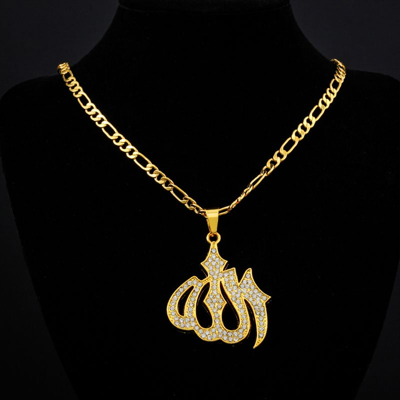 2017 New Trendy Islamic Jewelry Gold colour Rhinestone Crystal Vintage  Design Allah Necklaces   Pendants For 6f6ac025e00e