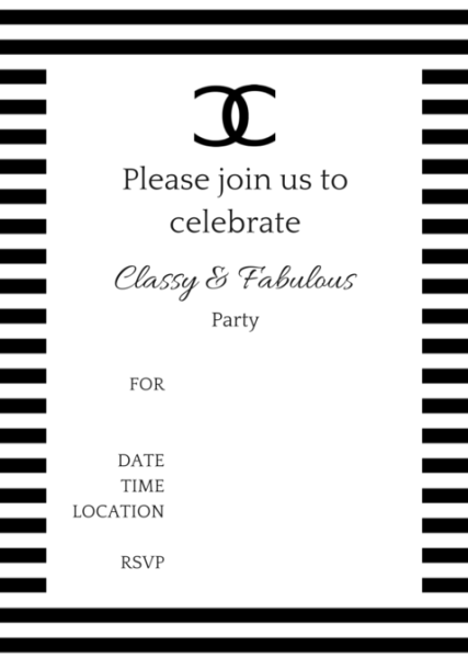 COCO Chanel Party Ideas Chanel party Party invitations and Birthdays
