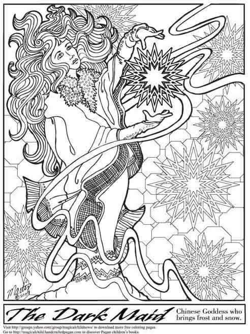 Pagan Fantasy kleurplaten Goddesses Adult coloring and