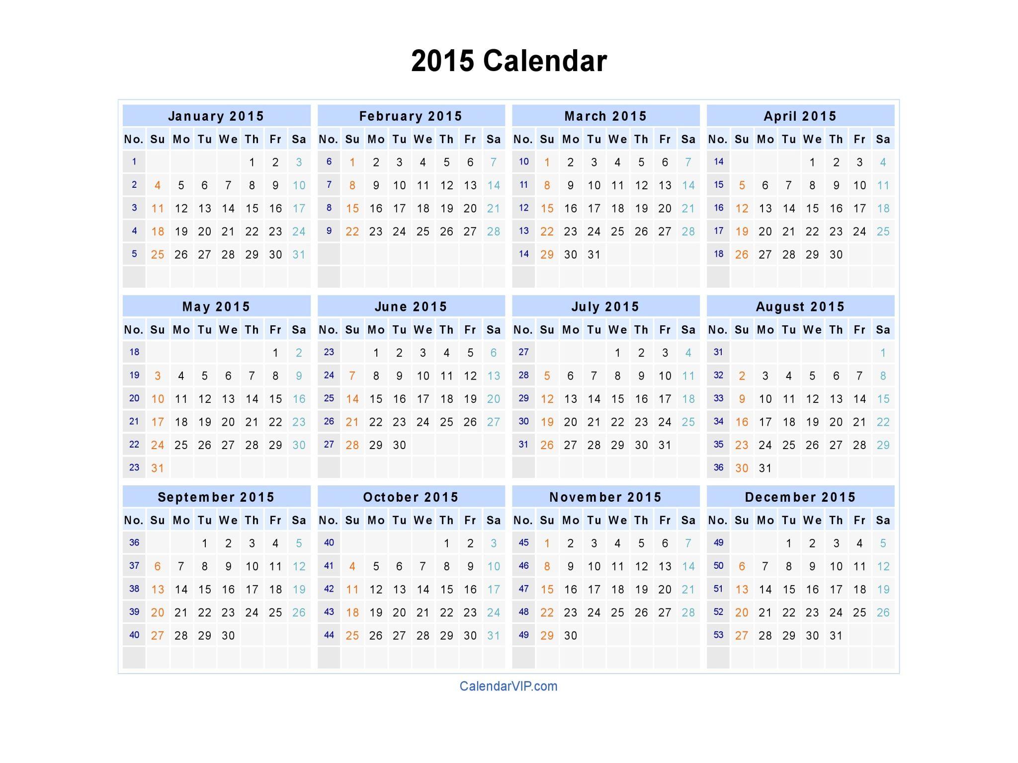 2015 Calendars 2015 Calendar Blank Printable Calendar Template