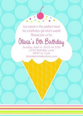 Invitation Wording Eliana S Birthday Ice Cream Party