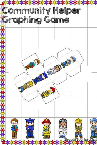 Community Helper Graphing Game | Printable math games, Community ...
