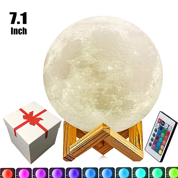 Amazon Com 7 1 Inch Full Moon Lamp 5 9in 7 9in 9 1in And 10 1in 3d Moon Lamp 3d Printing Led 16 Colors Moon Li Night Light Kids 3d Led Night Light Night Light