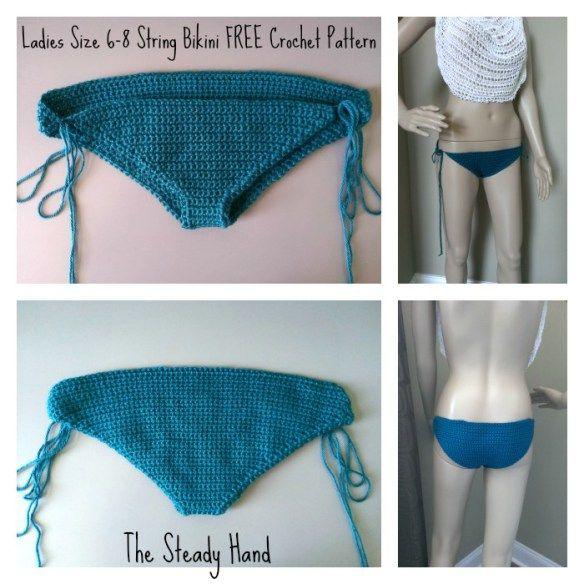 Free Crochet Pattern Ladies String Bikini Bottom Collage Crochet