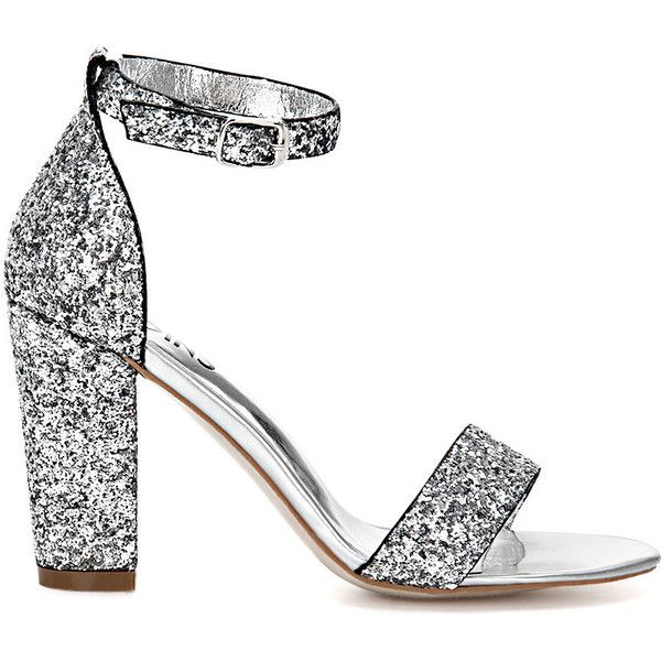 c82a880afb0e83 Yoins Sliver Sequin Ankle Strap High Heeled Sandals ( 39) ❤ liked on  Polyvore featuring shoes