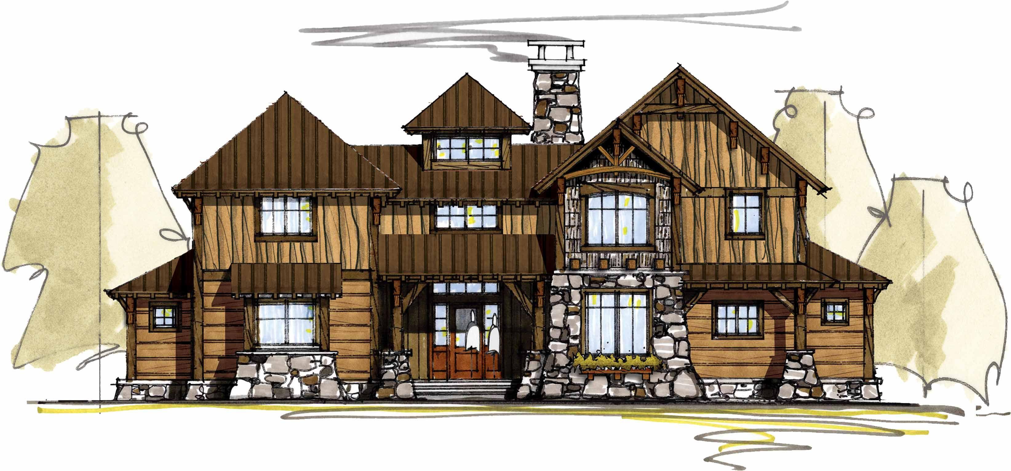Lodge Home Plan With Second Floor Bridge   18718CK | 1st Floor Master  Suite, Craftsman