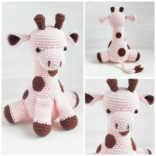 Spieluhr Giraffe Rosa Gehäkelt