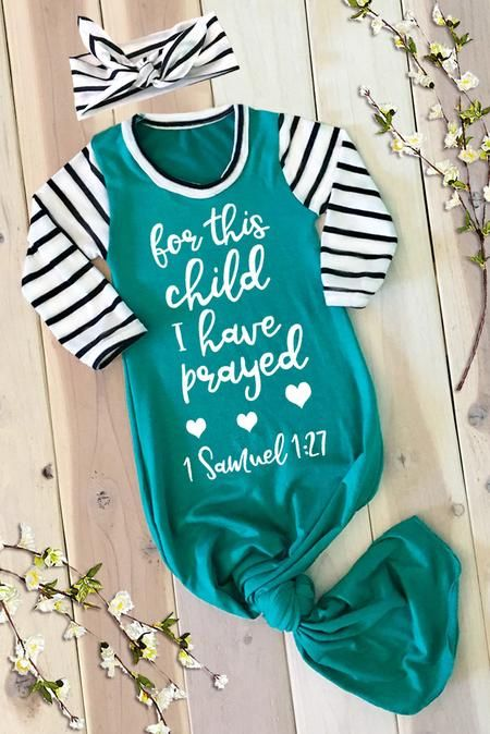 Photo of For This Child I Have Prayed Emerald Newborn Baby Gown and Knit Headband