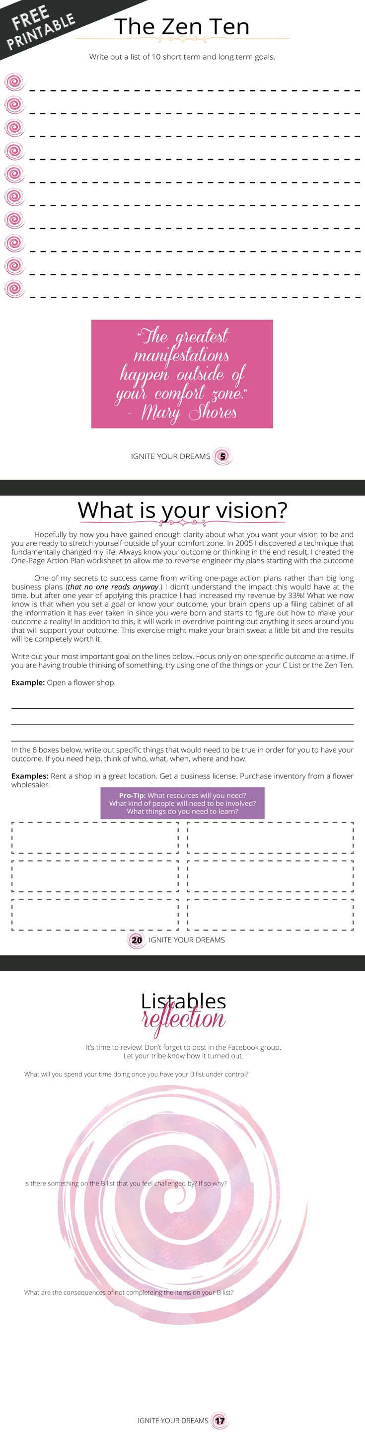 FREE PRINTABLE] Ignite Your Dreams FULL Color 26 Page personal development worksheet