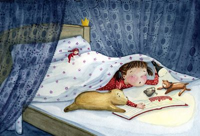 My Favourite Book ©Maria Bogade, artist. My childhood bedtime. Under the covers with a flashlight and a book. Reading in secret :-)