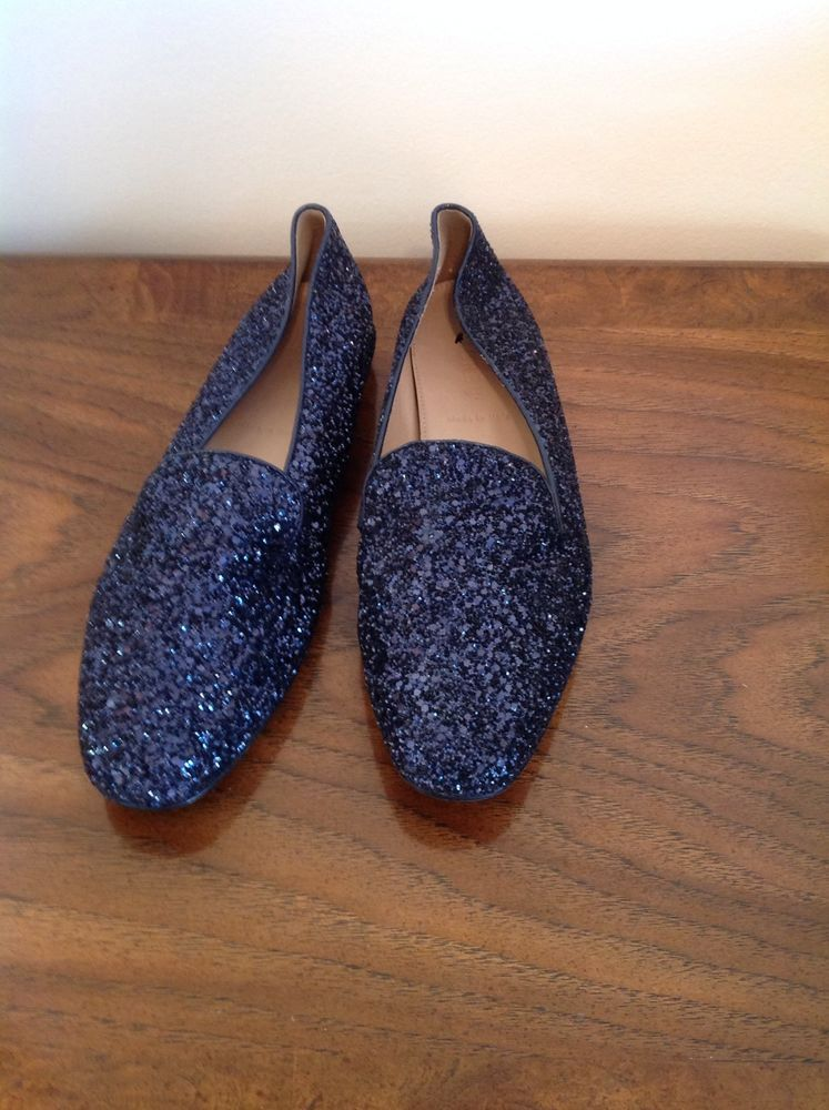 New J Crew Darby Glitter Loafers 7 Navy $158 Sold Out
