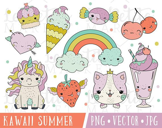 Summer kawaii. Clipart for images