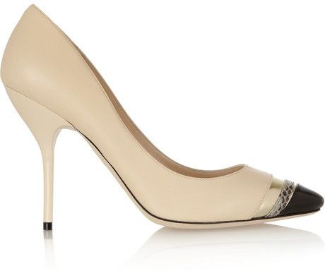 Jimmy Choo Laguna elaphe-trimmed leather pumps on shopstyle.com