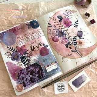 Watercolor Bullet Journal Spread