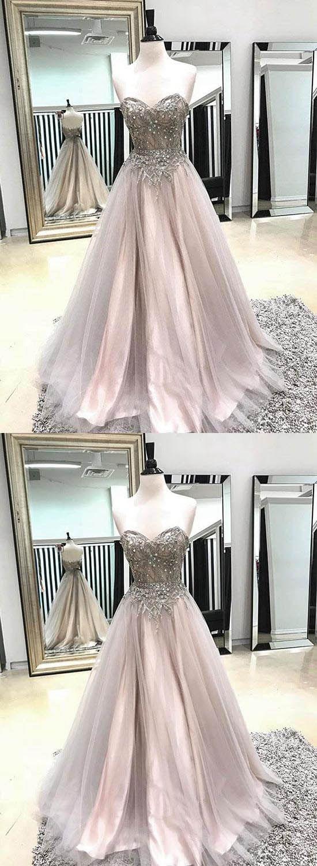 Sweetheart beaded long prom dresses tulle aline evening formal