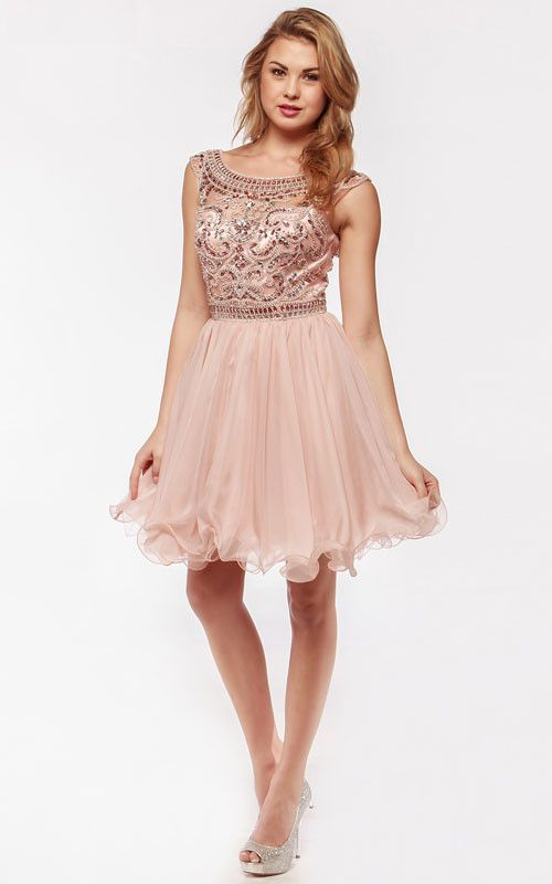 KC14101 BLUSH Jeweled Boat Neck Cocktail Dress by Amelia Collection by Kari Chang Couture.