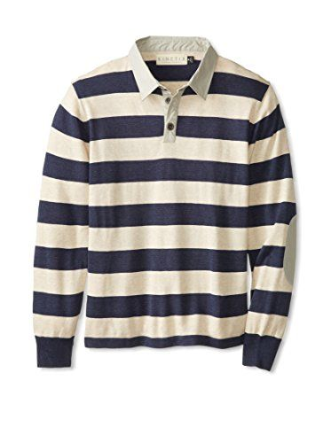 Kinetix Men's Striped Long Sleeve Rugby (Navy)