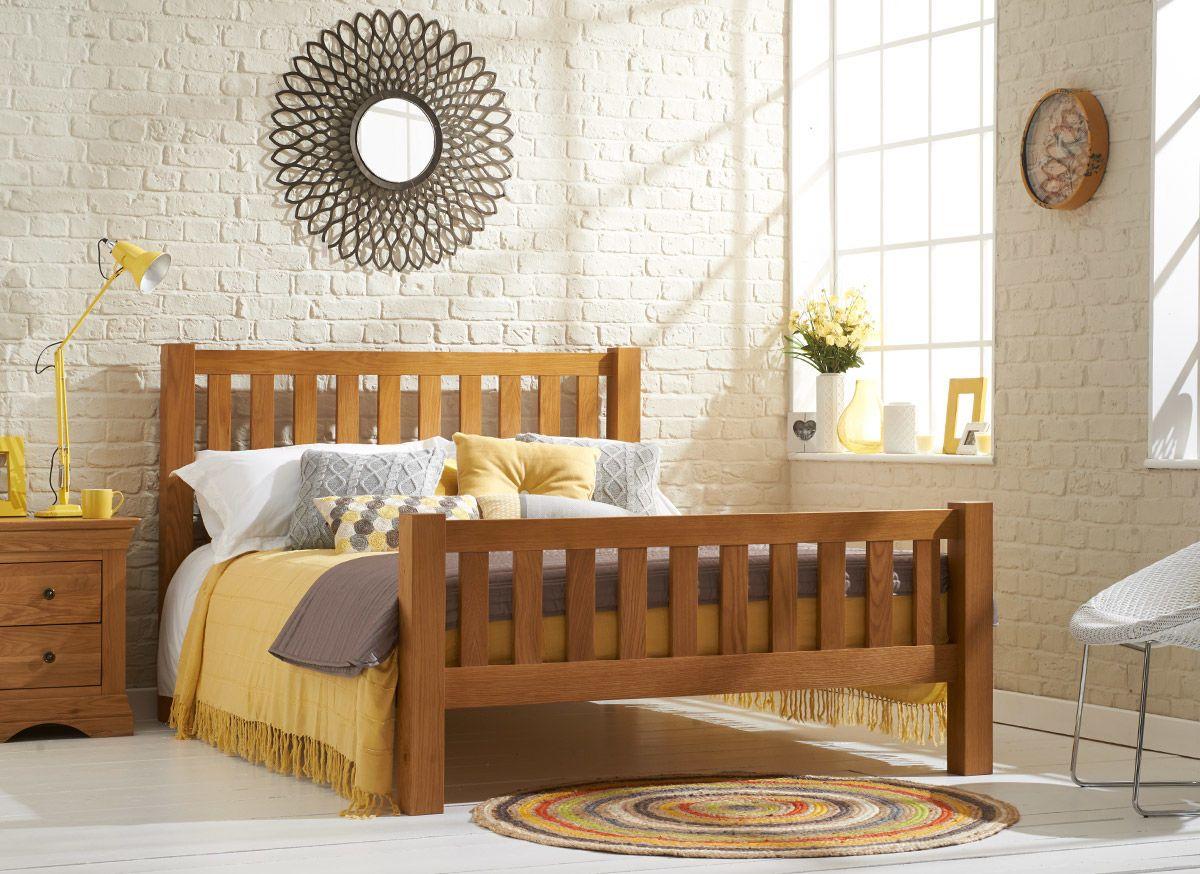 Our Kingsbury oak veneered bed frame complements both