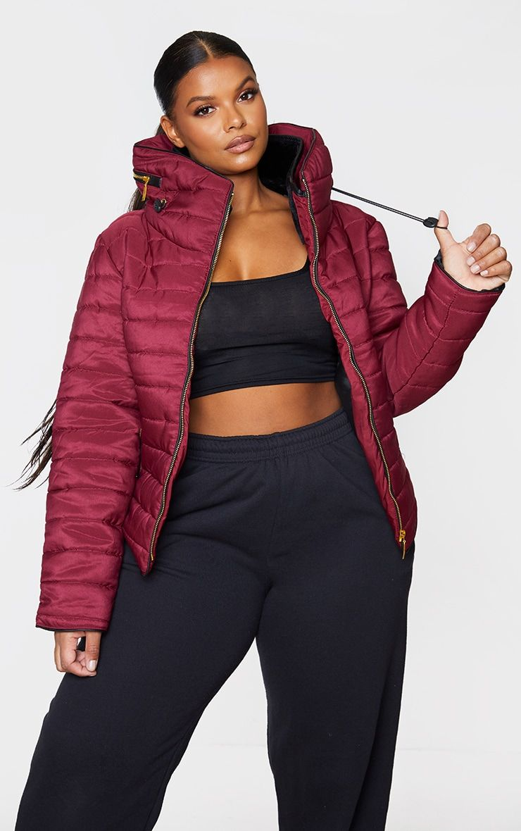 Plus Mara Burgundy Puffer Jacket In 2021 Plus Size Outfits Jackets Plus Size Clothing Uk [ 1180 x 740 Pixel ]