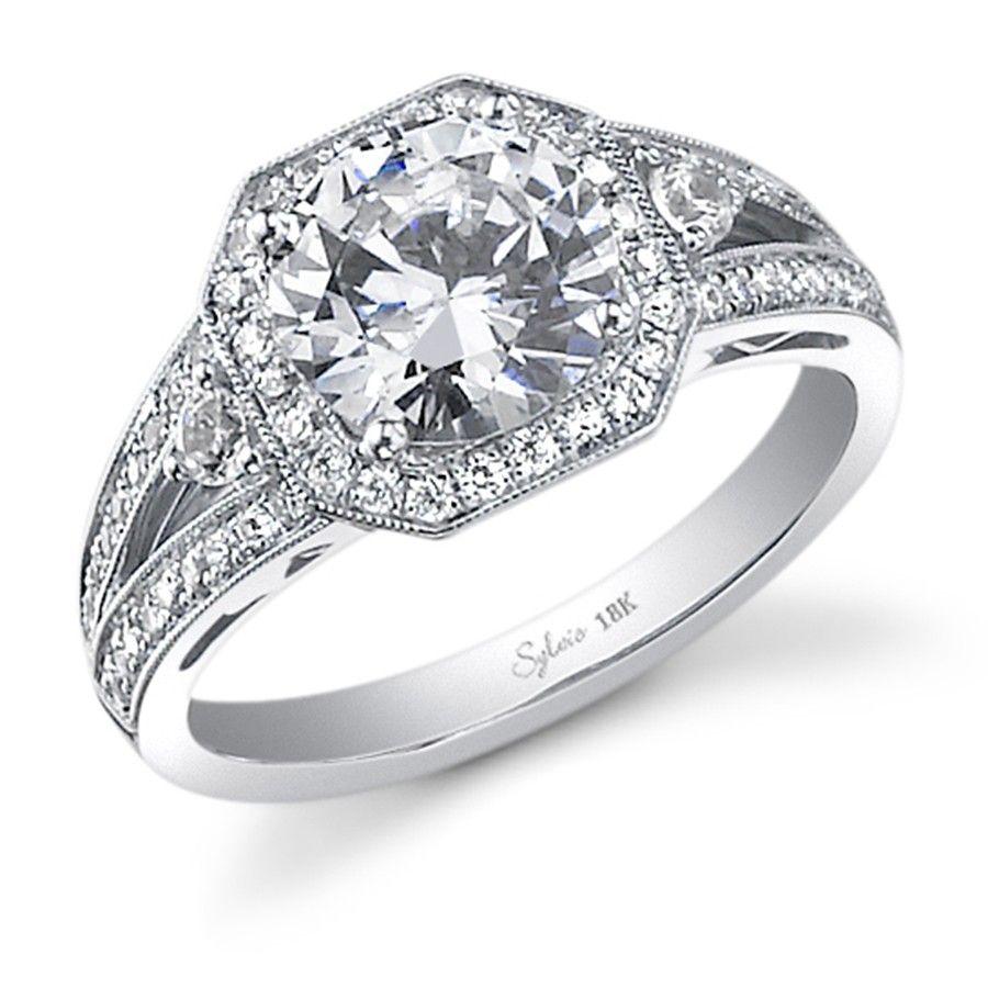 octagon shaped milgrain halo for a round center diamond - sylvie