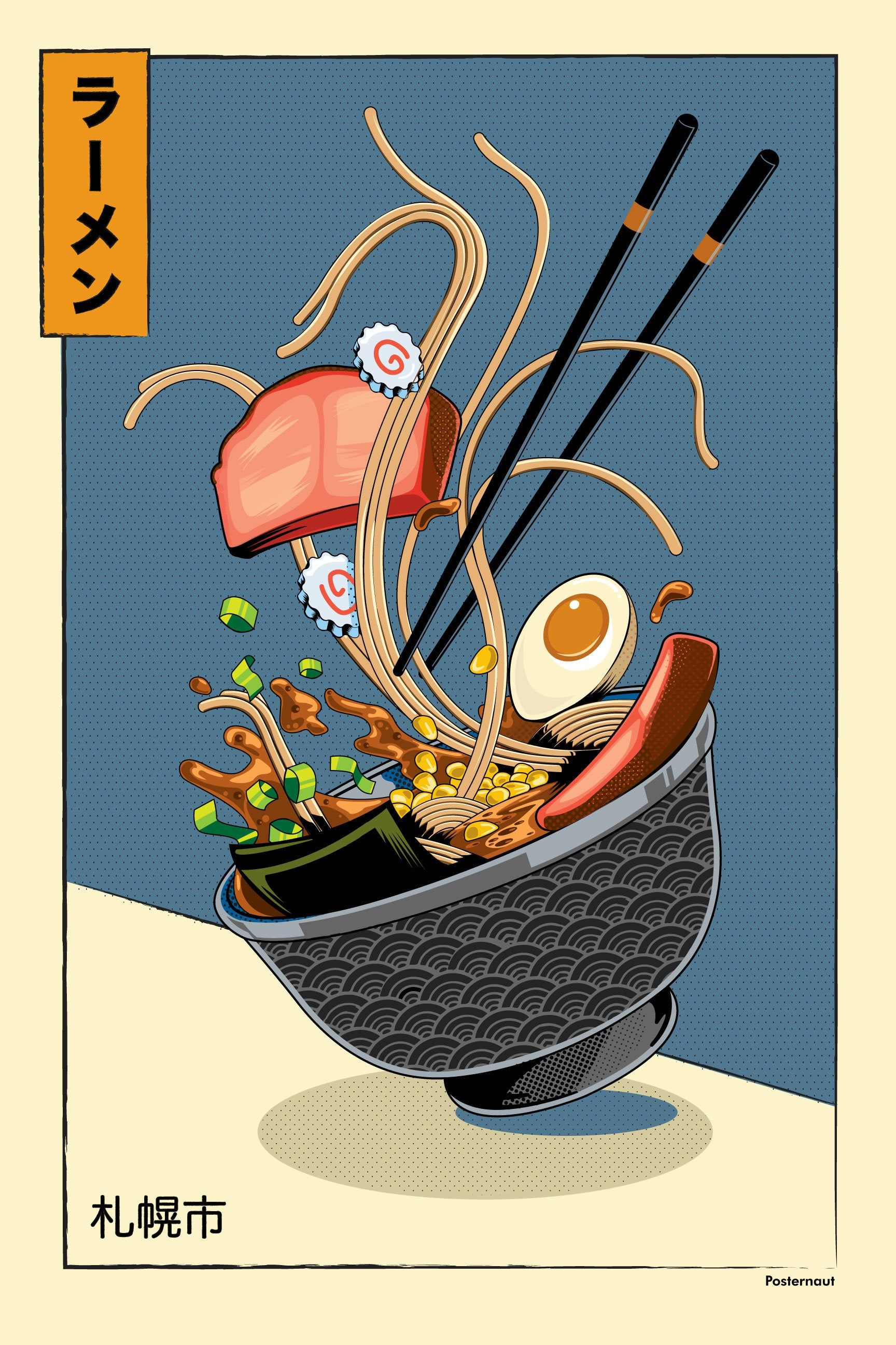 Ramen Ukiyo-e Art Print  Food   Unframed