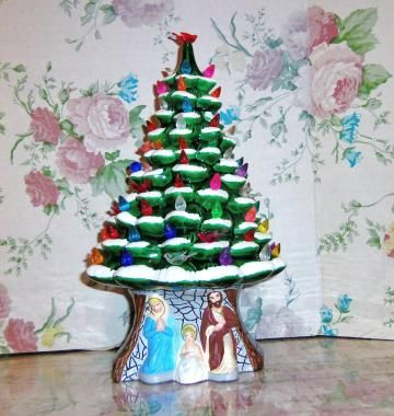 Ceramic Christmas Tree Lighted W Rare Holy Family Nativity Scene
