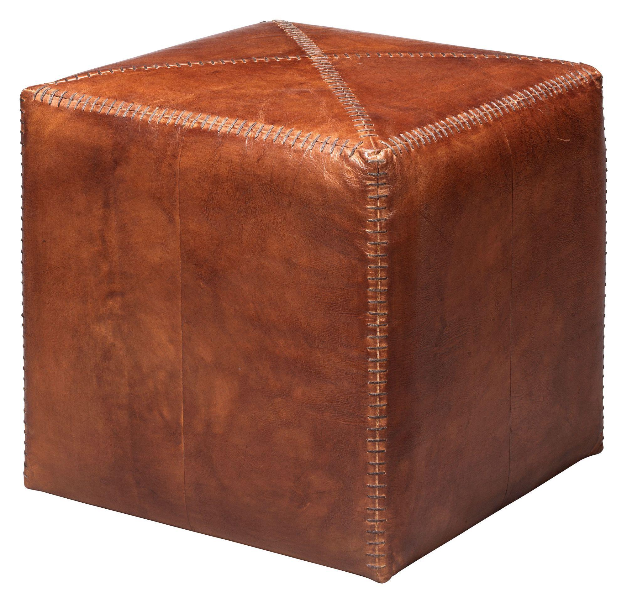 Gustavus Small Leather Cube Ottoman