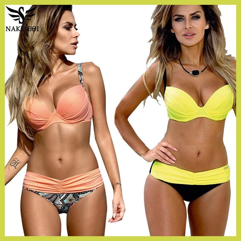 09181dde11a Sexy Bikinis Women Swimsuit 2018 Summer Low Waisted Bathing Suits Halter  Top Push Up Bikini Set Plus Size Swimwear XXL