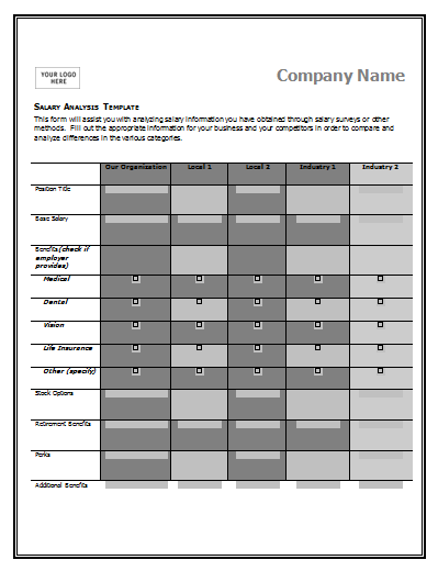A Salary Comparison Chart Template Is Made To Compare And Contrast The  Salaries Being Paid In  Comparison Template Word