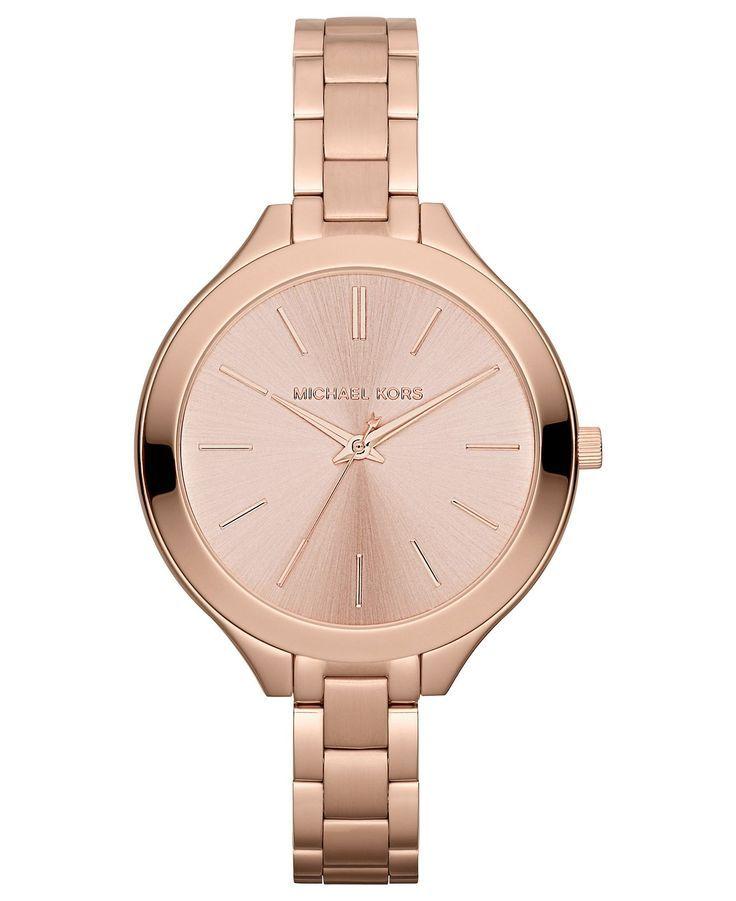 Michael Kors Watch, Women\u0027s Slim Runway Rose Gold