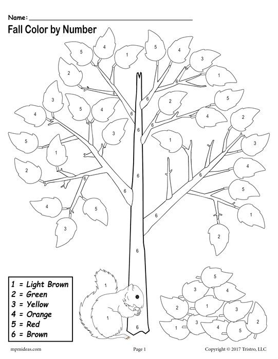 FREE Printable Fall Themed Color-by-Number Worksheet
