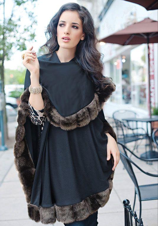 Black Faux Fur Trimmed Shawl Fluid and lightweight, fur ...