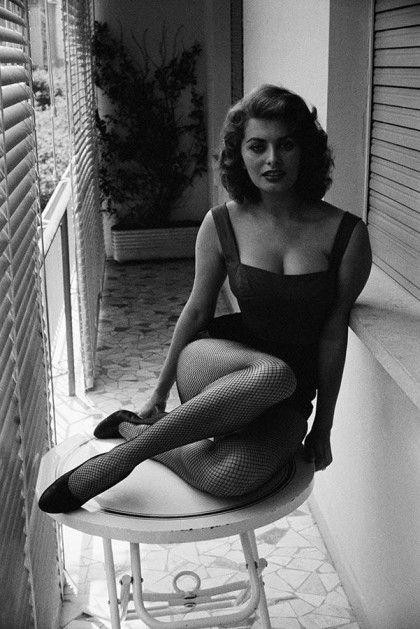 Sophia Loren at her home. Italy, 1955