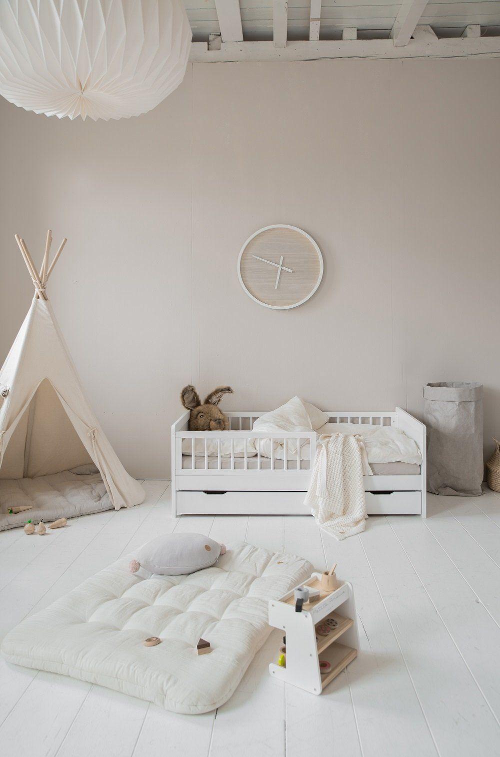 lit enfant barrieres 2 ans bois blanc